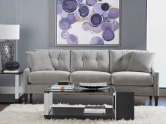 Wallace Sofa-Grey - about to purchase - will go great with the brown white rug! Unique Living Room Furniture, Home Furniture, Mauve, Cool Couches, Purple Rooms, Cute Home Decor, White Rug, Living Room Colors, Home Decor Inspiration