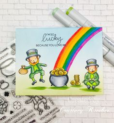 Now that Valentine's Day is over, St. Patrick's Day is right around the corner. I created a very simple one layer card using t… Because I Love You, My Love, White Gel Pen, Wink Of Stella, Copic Markers, Gel Pens, My Images, Card Making, Layers
