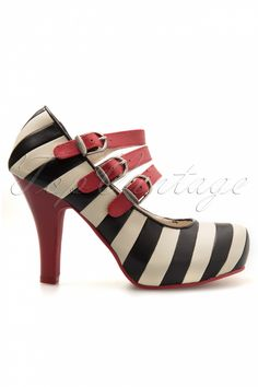 Lola Ramona - 50s Angie Striped Leather Plateau Pumps