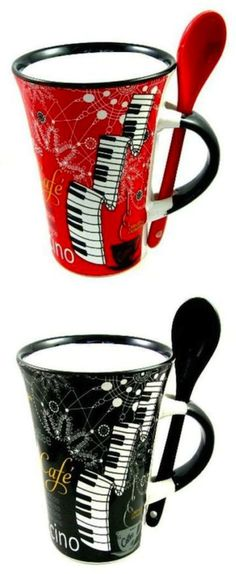 Piano keyboard mugs with spoon