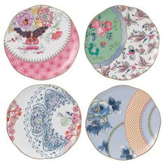 Wedgwood 4 Piece Butterfly Bloom Plate Set