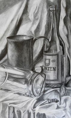 Glass and Metallic objects are a very challenging subject for tonal drawing... for more advanced students