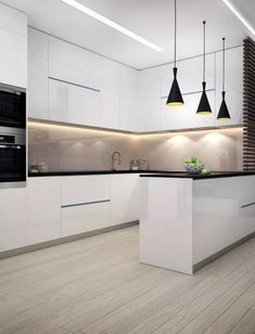 Elegant White Kitchen Design Ideas for Modern Home White kitchen is never a wrong idea. The elegance of white kitchens can always provide . Elegant White Kitchen Design Ideas for Modern Home Modern Kitchen Interiors, Luxury Kitchen Design, Modern Farmhouse Kitchens, Luxury Kitchens, Home Design, Cool Kitchens, Design Ideas, Interior Design, Kitchen Modern