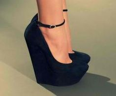 shoes; black, suede, wedges