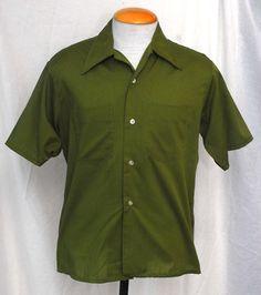 Men's 1960s Dangos' Durapress Green Short Sleeved Shirt