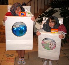 Washer and Dryer Halloween costume - this costume costs almost nothing to put together and is so creative!