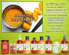 Mango Mandarin Product Collection - The refreshing aroma of freshly sliced mandarins and tangerines on a bed of diced ripe mango. #OverSoyed #MangoMandarin #ExoticFruits #Exotic #Fruity #Fruit #Candles #HomeFragrance #BathandBody #Beauty