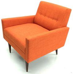 The Cosmo Club Chair in Linetta Tangerine Fabric! www.atomicchaircompany.com