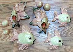 Vintage Bathroom Fish  Bathroom Decor  Retro Decoration  1950s 50s  Chalkware Ceramic  1954 Miller Studio