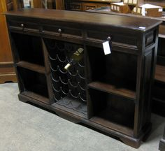 Dining room buffet diy? - 2 stereo cabs on side, wine rack center, desk for top