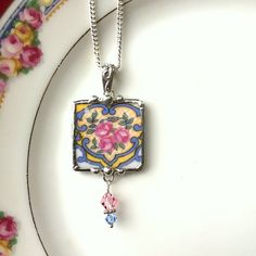 Broken china jewelry pendant necklace antique rose porcelain china Swarovski crystal drop