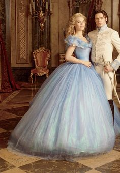 Lily James as Ella and Richard Madden as The Prince in Disney's 'Cinderella' (2015). Costumes by Sandy Powell.