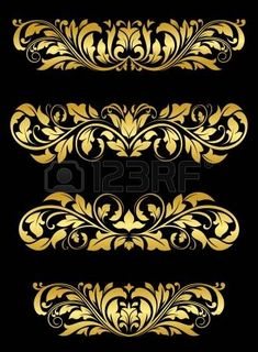 Golden floral embellishments Golden floral embellishments and patterns for luxury design. Editable (you can use any vector program) and JPEG (can edit in any graphic editor) files are included SPORTS MASCOTS MEDICINE FOOD LABELS WEDDING Baroque Decor, Baroque Design, Pattern Art, Abstract Pattern, Pattern Design, Thai Art, Vintage Embroidery, Border Design, Art Deco Design