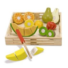 7c88ede56723 Wooden Cutting Fruit Crate Set by Melissa  amp  Doug Play Kitchen Food