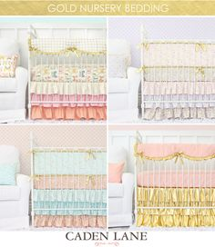 Top left is my fav!-Our Top 5 Colors Trends for Nursery Design - move over silver, there's a new metallic in town! GOLD is crazy popular this year for nursery design and Caden Lane has the most gorgeous gold crib bedding!