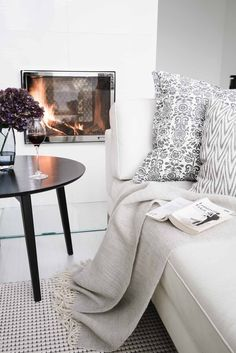 White sofa by fireside Living Room White, My Living Room, Living Room Interior, Home Interior Design, Home And Living, Living Spaces, Living Room Decor Inspiration, Interior Inspiration, Ideas Hogar