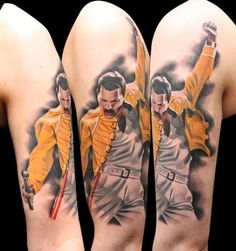 Get to witness the most amazing Freddie Mercury tattoos and deisgns here. We have the most splendid art styles that will tell you all the meaning of Freddie Mercury tattoos meaning Tatouage Freddie Mercury, Freddie Mercury Tattoo, Queen Freddie Mercury, Tattoo Foto, Tatoo Art, Color Tattoo, Epic Tattoo, Bad Tattoos, Great Tattoos