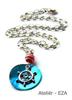 Perleťový náhrdelník s kormidlem pro námořnice-50%