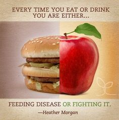 Every time you eat or drink you are either feeding disease or fighting it! Eating Healthy Saves You More in the Long Run. #diet #health https://skinnypartnr.com/