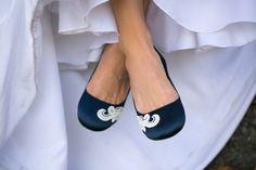 Wedding Flats Blue Wedding Flats/Navy Bridal Shoes by walkinonair