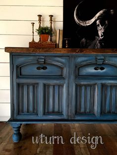 Blue painted buffet farmhouse sideboard painted tv #paintedfurniture #affiliate