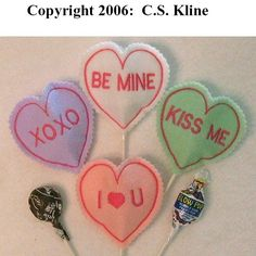 Valentine Conversation Hearts SUCKER COVERS 4x4 hoop Embroidery Machine designs set of 4. $15.00, via Etsy.