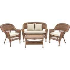 Poolside or on the patio, this classic wicker-inspired seating group is ideal for enjoying alfresco cocktails with family and friends.
