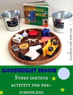 Love this idea, could be adapted for other books: Goodnight Moon Sorting Activity from Munchkins & Moms Preschool Literacy, Preschool Books, Early Literacy, Toddler Preschool, In Kindergarten, Preschool Activities, Moon Activities, Sorting Activities, Language Activities