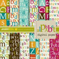 Alphabet Digital Scrapbooking Papers  Set of 12 by SunshineLemons, $4.95