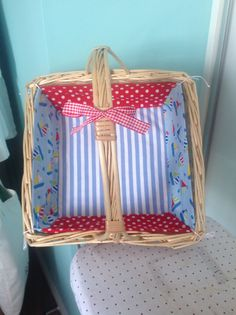 Lined basket for baby bits