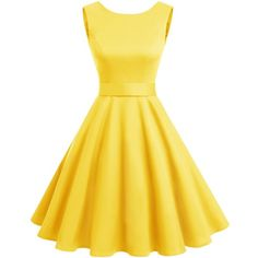 Wedtrend Women's Rockabilly 1950s Audrey Dress Polka Dots Retro... ($25) ❤ liked on Polyvore featuring dresses, holiday cocktail dresses, polka dot dresses, rockabilly swing dress, rockabilly dresses and yellow cocktail dress