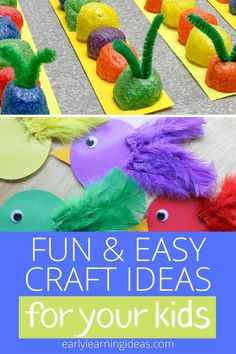 Check out 25 popular craft projects to do with kids. Use this visual library to find lots of fun activities to make with your preschoolers at home. Fun Easy Crafts, Bug Crafts, Fun Arts And Crafts, Easy Craft Projects, Arts And Crafts Projects, Crafts To Do, Fall Crafts, Crafts For Kids, Preschool Activities At Home