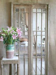 Shabby Elegant Dramatic Vintage Villa Doors~Perfect for any French Shabby Cottage home. Old Wooden Doors, Old Doors, Barn Doors, Sliding Doors, Vintage Shabby Chic, Shabby Chic Style, Mirrored Furniture, Vintage Furniture, Royal Furniture
