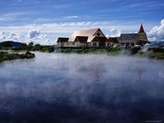 Thermal Steam and St. Faith's Anglican Church, Ohinemutu. Rotorua New Zealand