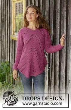 Flora Viola - free crochet sweater pattern and charts by DROPS design. Size: S - XXXL Pull Crochet, Free Crochet, Knit Crochet, Crochet Jumper Free Pattern, Tunisian Crochet, Crochet Tops, Crochet Granny, Crochet Jacket, Crochet Cardigan