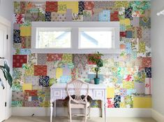How to make a patchwork wallpaper wall with vintage wallpaper. A Fall/Winter design shown Bungalow, Kelly Rae Roberts, Studios, Wall Wallpaper, Wallpaper Crafts, Creative Home, Design Show, Duvet, New Homes