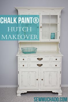 A lovely Craigslist hutch gets a distressed makeover with Old White Chalk Paint® decorative paint by Annie Sloan | By Sew Much Ado