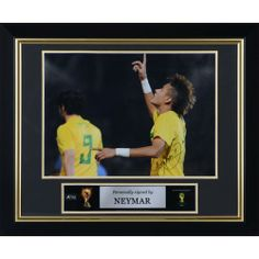 Neymar Santos Brazil Framed Autographed 16'' x 12'' Photograph - Mounted Memories