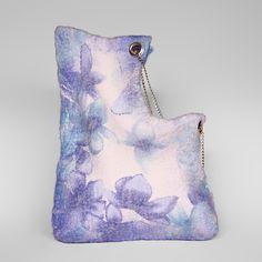 Felted Bag Flower Bag Nunofelt Bag Wearable art Handbag Felt Nunofelt Nuno felt Silk blue fairy fantasy shoulder bag Fiber Art boho by SwellEcoFashion on Etsy