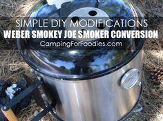 Simple DIY Modifications For A Weber Smokey Joe Smoker Conversion - Camping For Foodies .com