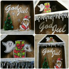 """Box house from Tim Holtz with stamps from Artimpressions and christmas die """"god jul"""" by HC Design"""
