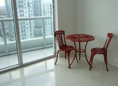 This adorable and functional red bistro set can be used indoors or out. Heavy enough to withstand breezes on the floor terrace, but light enough to bring inside when the winds pick up, it's versatility makes it a great addition to any design scheme. Interior Design Photos, Bistro Set, Terrace, Indoor, Flooring, Room, Balcony, Interior, Bedroom