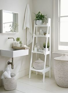 Go with an all-white decorating scheme to make your bathroom feel more spacious. A slim tapering ladder shelf unit, like this from The White Company, provides essential storage. Decorate the bathroom with potted plants and bud vases to add a natural touch Bad Inspiration, Bathroom Inspiration, Interior Inspiration, Bathroom Inspo, Bathroom Ideas Uk, Bathrooms Decor, Decorating Small Bathrooms, French Country Bathroom Ideas, Interior Ideas