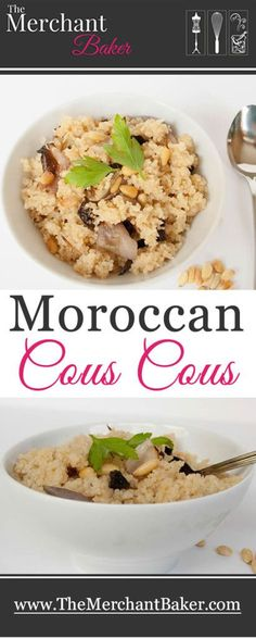 """Moroccan Couscous. Tender couscous tossed with sweet cherries, toasted pine nuts and charred shallots. A perfect side to my """"must try"""" Moroccan Chicken Recipe."""