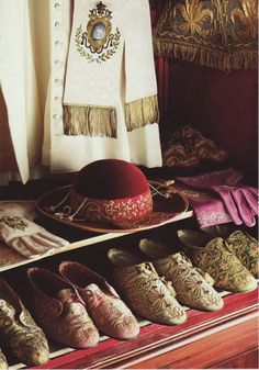"Shoes, gloves, hat, and cassock of Pope Pius XII. Source: National Geographic, from the 1985 book ""Inside the Vatican""."