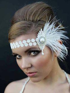 Great Gatsby headband 1920s style headdress great gatsby style ivory lace bridal headdress Art Deco flapper headdress.