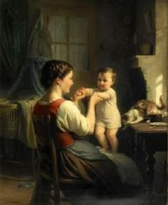 F. Zuber-Buhler - Mother And Child With Cat Fritz Zuber-Buhler (1822 – 1896, Swiss)