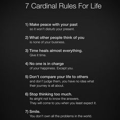 7 cardinal rules for life: