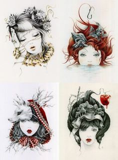 Clockwise from left: Sleeping Beauty, The Little Mermaid, Red Riding Hood & Snow White by Courtney Brims |    http://www.courtneybrims.com/shop/index.php