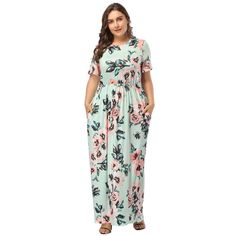 HOOYON Women s Casual Floral Printed Long Maxi Dress with Pockets(S-5XL) e6f4460d9b28